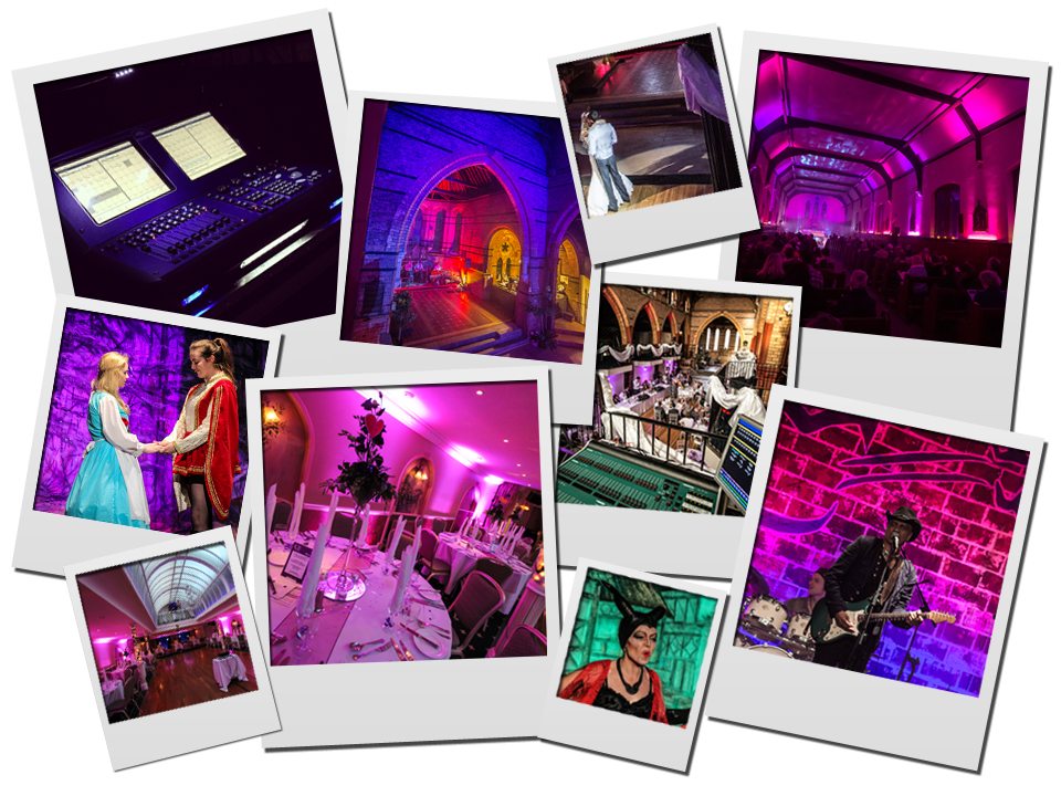 montage of lighting and sound hire work across uk